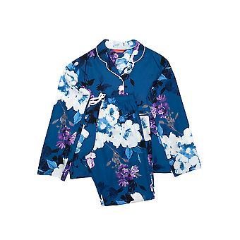 Minijammies Eliza 5645 Girl's Blue Mix Flora Print Pyjama Set