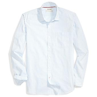 Goodthreads Men's Standard-Fit Long-Sleeve Gingham Plaid Poplin Camicia, Grey/B...