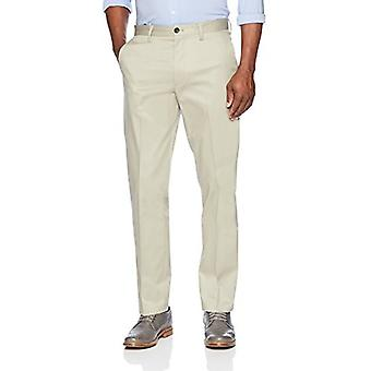 KNAPPET NED Menn's Straight Fit Stretch Non-Iron Dress Chino Bukse, Khaki, 32...