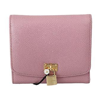 Dolce & Gabbana Pink Leather Blue Trifold Card Case Holder Women Wallet VA8666