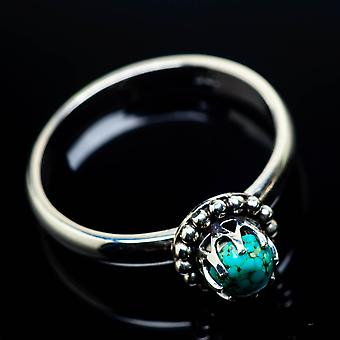 Tibetan Turquoise Ring Size 9 (925 Sterling Silver)  - Handmade Boho Vintage Jewelry RING24781
