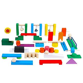 Domino Color Sort Wooden Toys For Children Rainbow Wood Games E