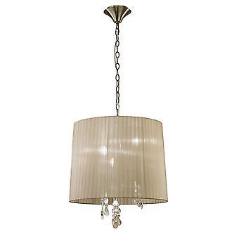 Ciondolo a soffitto 3/3 Light E14-G9, Ottone antico con ombra di bronzo morbido e cristallo chiaro