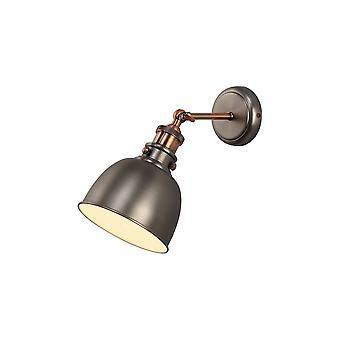 Oświetlenie Luminosa - Regulowana lampa ścienna, 1 x E27, Antyczne srebro, Miedź, Biały