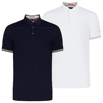 Ted Baker Mens 2020 Clubtwo Textured Pop Stud Ribbed Cuffs Golf Polo Shirt
