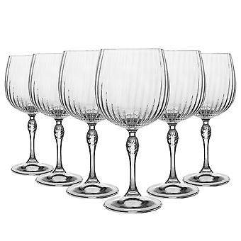 Bormioli Rocco 12 Piece America '20s Gin and Tonic Glasses Set - Vintage Art Deco Spaanse Copa de Balon Cocktail Glass - 240ml