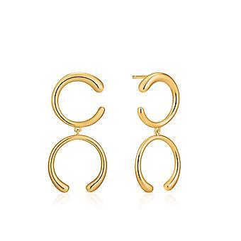 אניה Haie לוקס מינימליזם מבריק זהב לוקס עגילים כפולים E024-01G