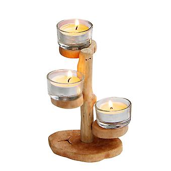 Wooden Natural Vintage Scandannvian Style Candle Holder with Two Cup Holder