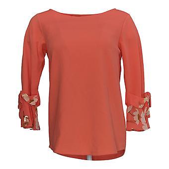 Joan Rivers Classics Collection Women's Top (XXS)Knit Chiffon Red A347348