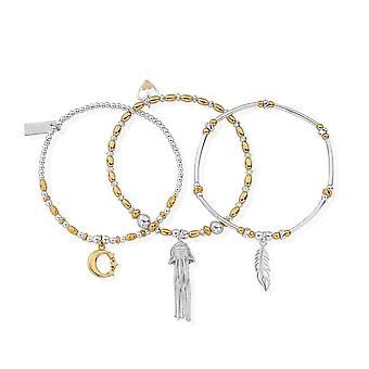 ChloBo GMBSTA3IS Women's Two Tone Stack Of 3 Bracelets