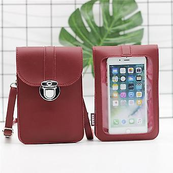 Phone Bag Touch Screen Shoulder Pocket Wallet Pouch Case Neck Strap With Back