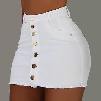Women Button Denim Jeans Bodycon Mini Skirts High Waist Sexy Club Summer
