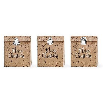 Gift bags Merry Christmas Kraft Brown Set of 3 with Stickers