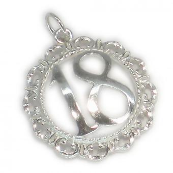 18th Birthday Fancy Fob Sterling Silver Large Charm Pendant .925 X 1 - 149