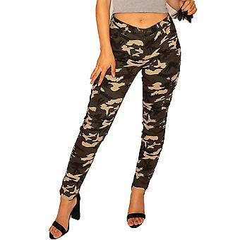 Skinny Camouflage Combat Trousers - Green