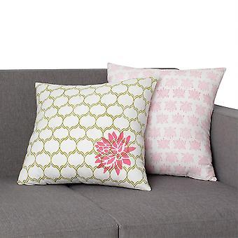 18 X 18 Oreiller en coton Quatrefoil avec détails floraux, ensemble de 2, multicolore