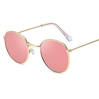 Küçük Çerçeve Yuvarlak Tasarımcı Alaşım Ayna Güneş Gözlükleri / erkekler