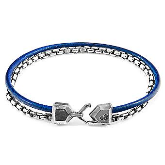 ANCHOR & CREW Moonraker Mast Silver and Round Leather Bracelet
