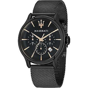 Maserati R8873618006 Men's Epoca Chronograph Black Mesh Wristwatch