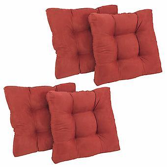 Coussin de chaise à manger tufted microsuede carré de 19 pouces (ensemble de quatre) - vin rouge