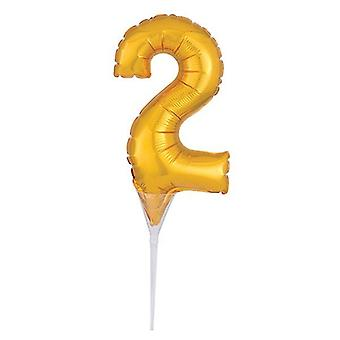 "Foil Gold Cake Balloon - 2 -150mm (6"") - single"