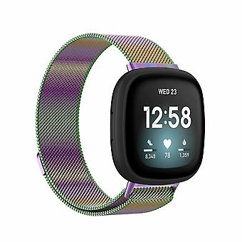 """For Fitbit Versa 3 / Sense Strap Milanese Wrist Band Stainless Steel Magnetic[Large (6.7""""-9.3""""),Rainbow]"""