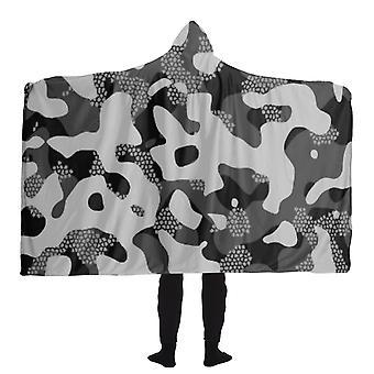 Grey pattern camouflage & mosaic style plakat hooded blanket