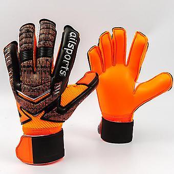 4mmラテックスゴールキーパー手袋指保護肥厚サッカーグローブ