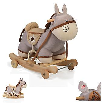 Rocker caballo felpa burro Dulcinea WJ-302, sonido, patines y ruedas plegables