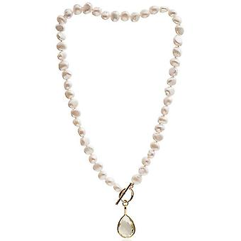 Pearls of the Orient Clara Freshwater Pearl Topaz Drop Necklace - Lemon Yellow/White