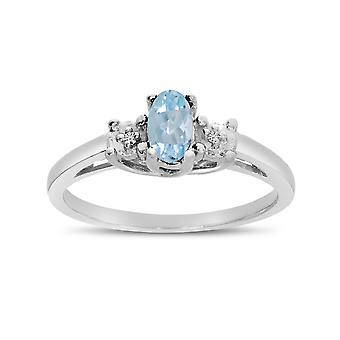 LXR 14k oro blanco ovalada aguamarina y anillo de diamantes 0.14 ct