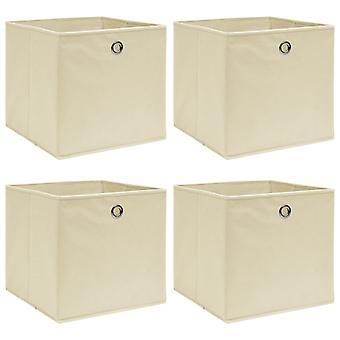vidaXL Aufbewahrungsboxen 4 Stk. Creme 32x32x32 cm Stoff