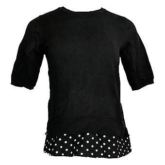 Isaac Mizrahi En direct! Femmes & s Sweater Reg Elbow Slv Black A365708