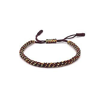 Benava, Tibetan Buddhist bracelet, handmade, friendship bracelet and metal base, color: brown, cod. 0009
