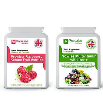 Raspberry Ketones + Multivitamins | Suitable For Vegetarians & Vegans | Made In UK by Prowise
