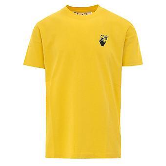 Off White Spray Paint Logo Geel T-Shirt