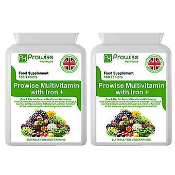 Pack of 2 - Multivitamins & Iron 180 Tablets (6 Months dose) | Suitable For Vegetarians | Made In UK by Prowise