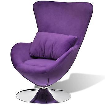 vidaXL obrotowe krzesło w kształcie jajka z poduszką Small Purple Velvet