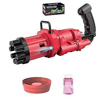 Rode gatling bubble machine cool plezier speelgoed cadeau 8 gat automatische bubble maker az22792