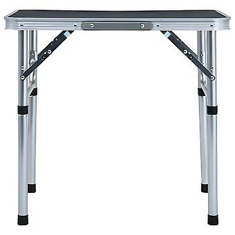 vidaXL Klappbarer Campingtisch Grau Aluminium 60 x 45 cm