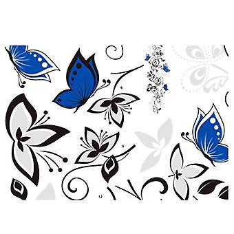 Regenboghorn Blue Butterfly Floral Wall Decal Sticker
