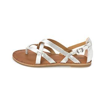 Gelukkig merk Womens Ainsley leer Split teen Casual enkel riem sandalen