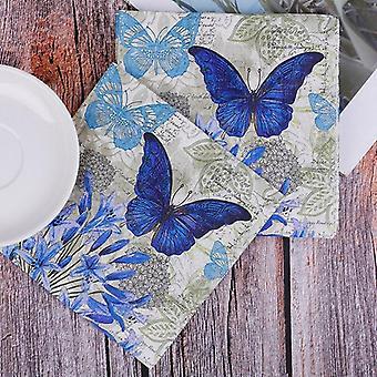 Violetti kukat perhonen häät lautasliinat paperi