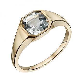 Elements Gold Asscher Cut White Topaz Yellow Gold Ring GR590C
