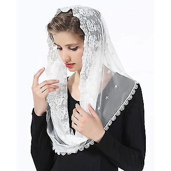Florale Spitzenschleier Kopfbedeckung Lateinische Masse Mantilla Schleier Kurzer Schal für Brautfrauen (WHite)