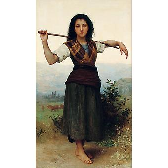 Shepherdess,william-adolphe Bouguereau Art Reproduction.realism Style Modern Hd Art Print Poster,canvas Prints Wall Art For Home Decor Pictures (unfra