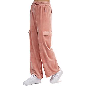 Women's Fila Amrita Velour Cargo Jog Pants in Pink