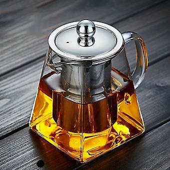 350ML Borosilikatglas Teekanne Hitzebeständiges quadratisches Glas Teekanne Filter Teekanne (350ML)