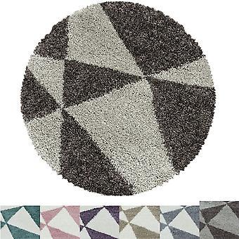 Sala de estar Carpet MANGO High Pile Round Design Triangle Pattern Abstract