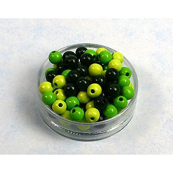 8mm Grön Mix trä trädande pärlor vuxna hantverk - 118pk